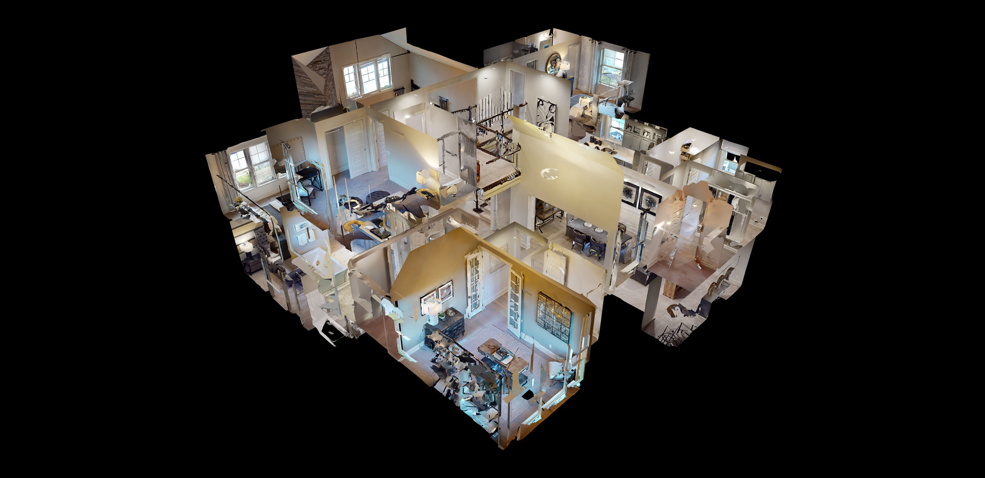 Matterport virtual tour dollhouse view photo showing layout of home from exterior perspective