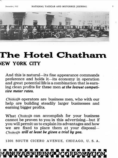 1922 Checker Hotel Chatham Ad