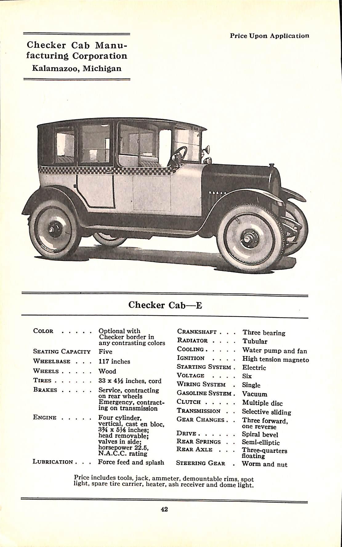 1924 Checker Model E Specs