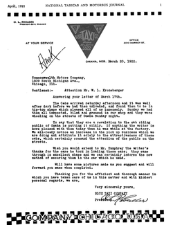 1922 Checker Open Letter Markin