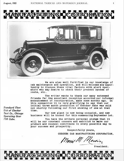 1922 Checker Announcement