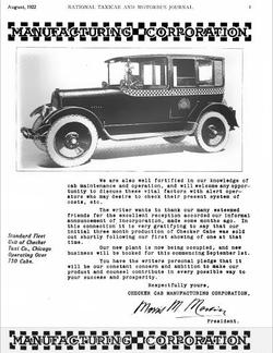 1922 Checker Announcement