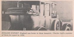 1926 Checker UK Export Taxi