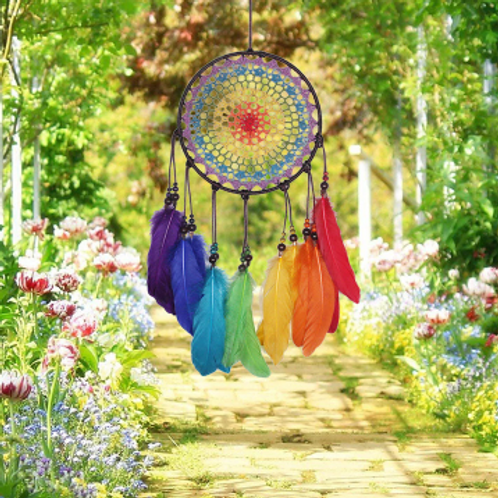 Rainbow Dreamcatcher with Feathers
