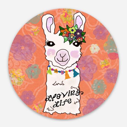 Lloving Life Llama Sticker