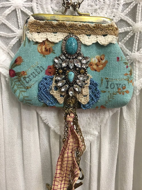 Blue Cottage Rose Handmade Coin Purse Necklace