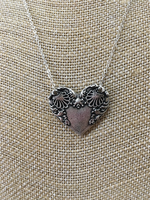 Vintage style Silver Heart Necklace