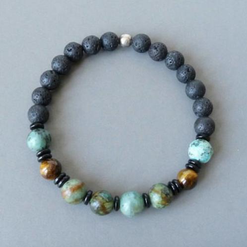 Unisex Lava, Tigers eye & African Turquoise Bracelet