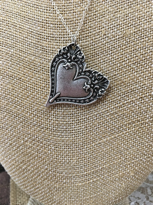 Tilted Vintage style Silver Heart Necklace