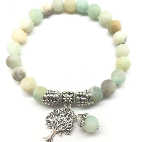 Amazonite Tree of Life Charm Bracelet