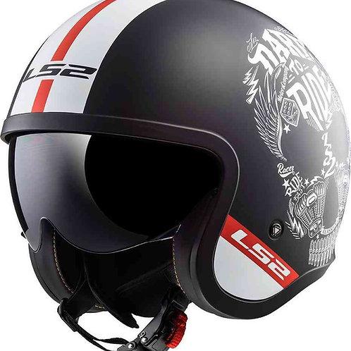 LS2 OF599 Spitfire Openface Helmets Inky Matt Black/White