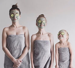 mother and 2 daughters having spa treatments