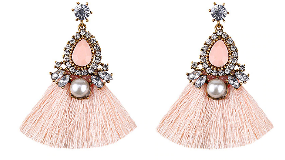 """Celeste"" Crystal Tassel Earrings"