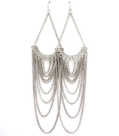 """Clarissa"" Metallic Crystal Dangle Earrings"