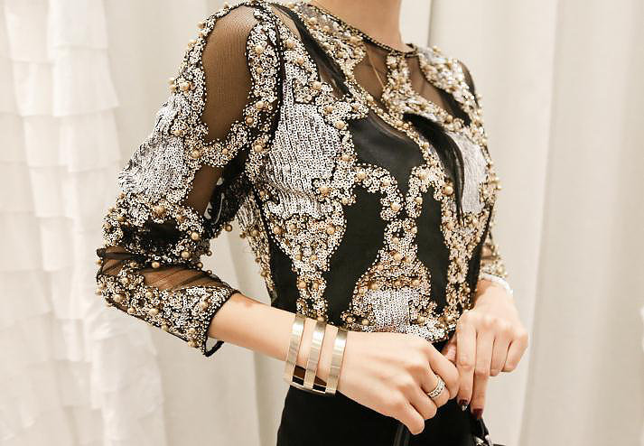 Sequins Beaded Lace Blouse