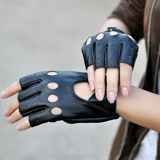 Faux Leather Half Finger Driving Gloves (pair)