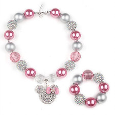 Crystal Minnie Mouse Beaded Bubblegum Necklace Set