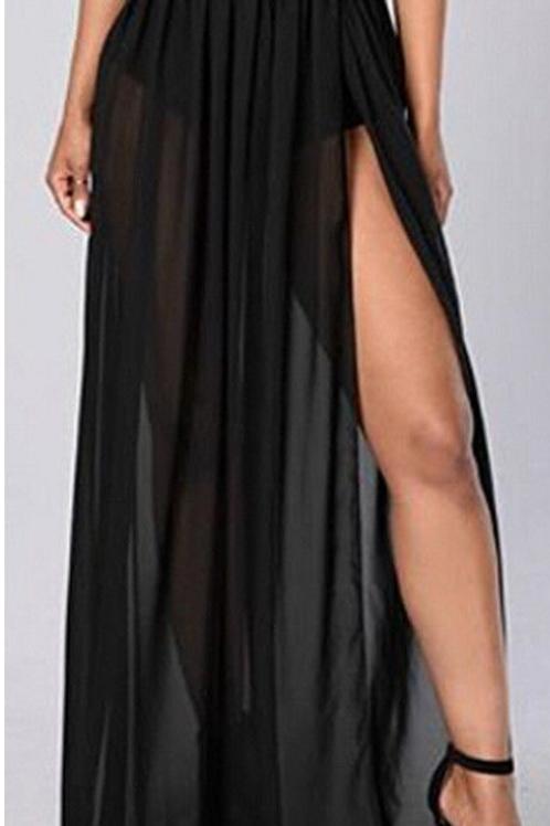 Sheer Side Split Chiffon Skirt