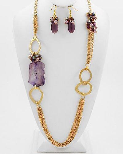 """Rebecca"" Semi-Precious Crystal Necklace Set"