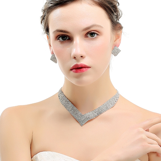 """Sheila"" Rhinestone Bridal Necklace Set"