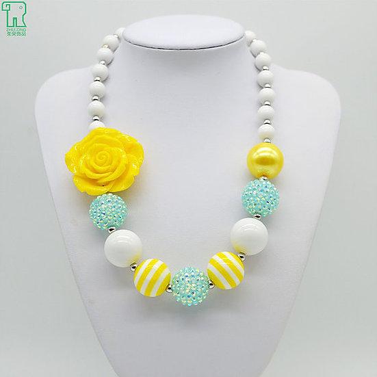 Yellow Flower Beaded Bubblegum Necklace