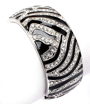 """Tara"" Zebra Print Crystals Cuff Bracelet"
