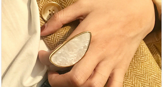 """Roz"" Oversize Geometric Semi Precious Ring"