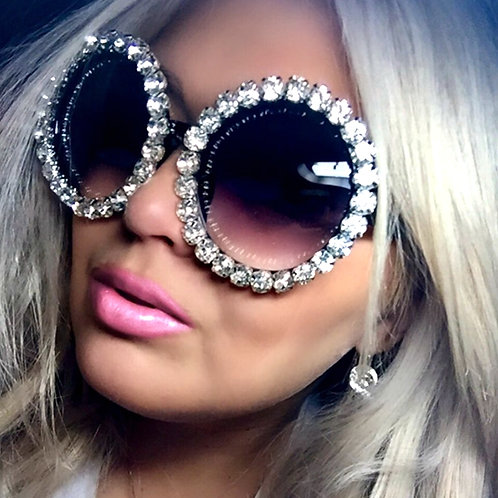 Oversize Round Crystal Sunglasses