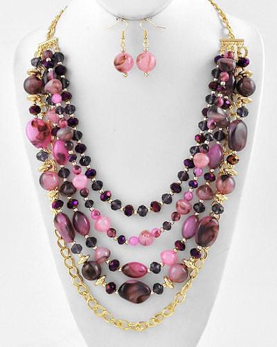 """""""Melinda"""" Semi Precious Crystal Necklace Set"""