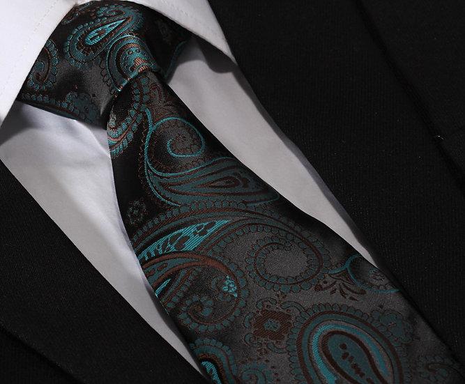 Brown & Blue Paisley Silk Mens Tie Set