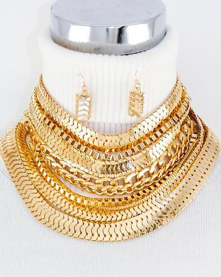"""Samantha"" Link Chain Necklace Set"