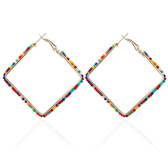"""Sarah"" Beaded Square Hoops"