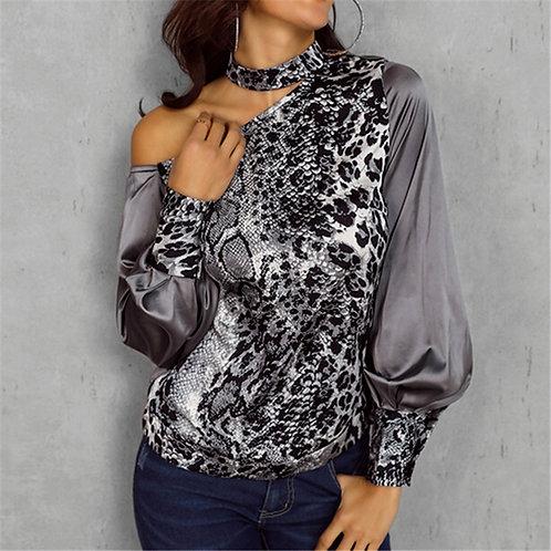 Leopard Off Shoulder Choker Collar Blouse