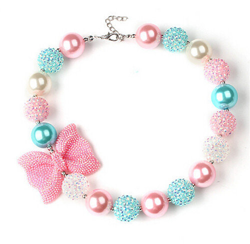 Pink Bow Beaded Bubblegum Necklace Set