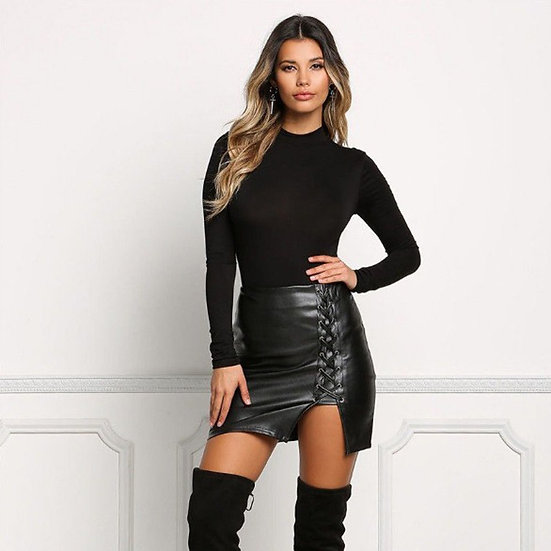 Faux Leather Tie Mini Skirt