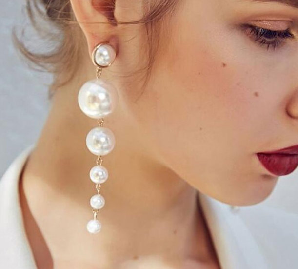 """Michaela"" Dangle Pearl Earrings"