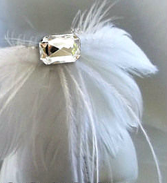 White Ostrich Crystal Embellished Shoe Clip (pair)