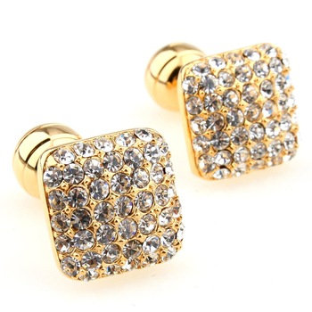 Crystal Square Gold Cufflink (pair)