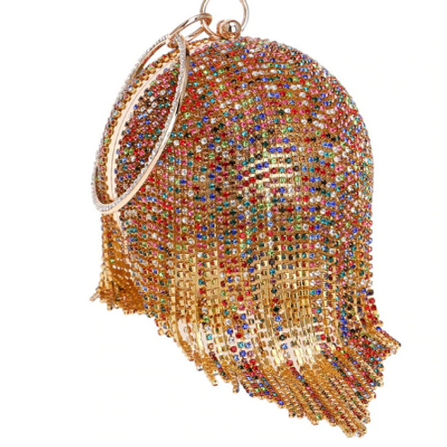 Round Beaded Crystal Clutch Evening Bag