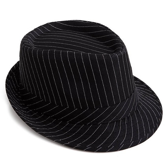 Black & White Pin Stripe Fedora
