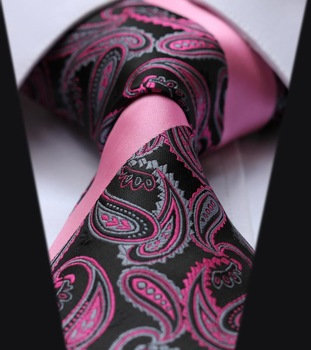 Pink Paisley Silk Mens Tie Set