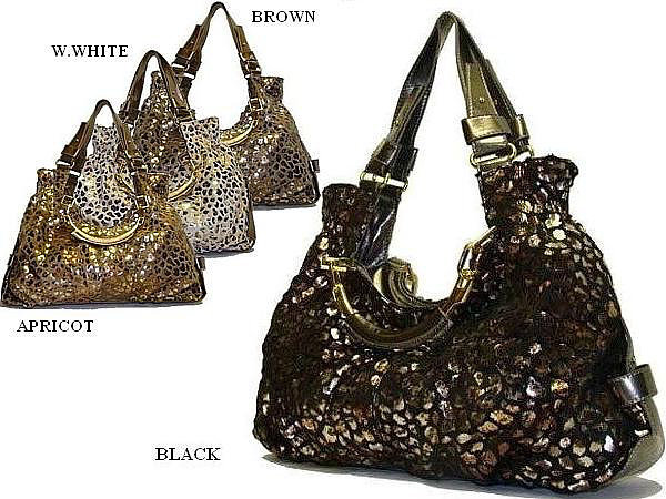 Metallic Patch Shoulder Handbag (winter white)