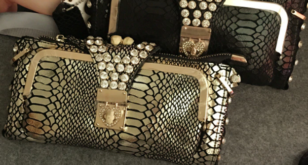 Faux Snakeskin Crystal Cluster Clutch