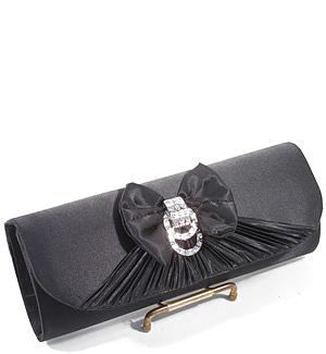 Satin Crystal Bow Evening Bag