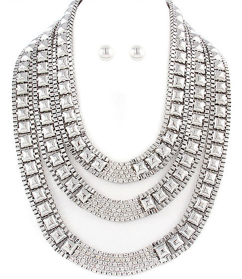 """Camille"" Rhinestone Necklace Set"