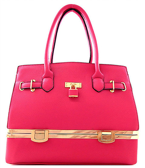Pink Faux Leather Bottom Compartment Handbag