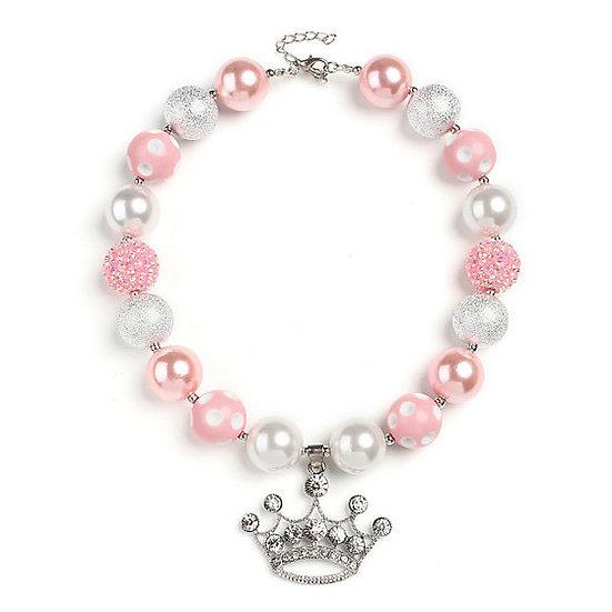 Crystal Tiara Bubblegum Beaded Necklace
