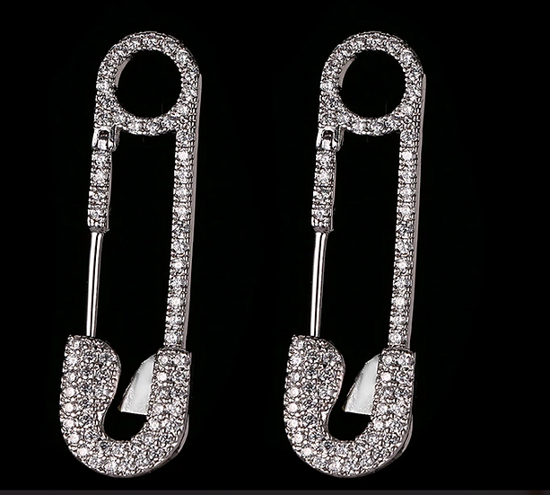 """"""" Minnie"""" Cubic Zirconia Safety Pin Earrings"""