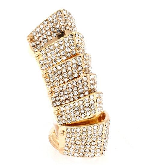 """Bilan"" Pave Crystal Knuckle Ring"
