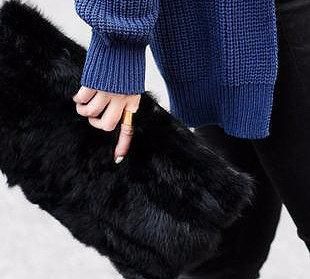 Foldover Fur & Faux Leather Clutch